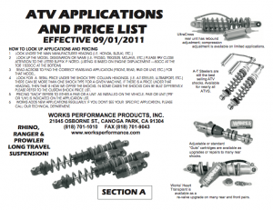 ATV APPLICATIONS AND PRICE LIST